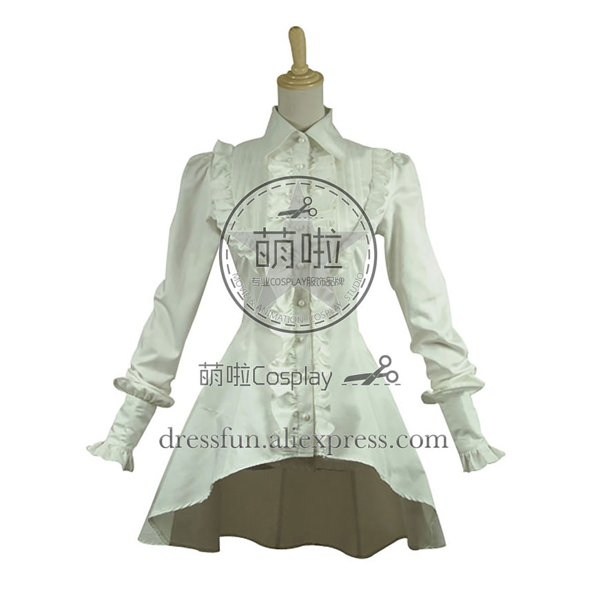 Gothic Lolita Cosplay Victorian Romantic White Blouse Ruffle Steampunk Costume With Ruffles Decorated Cool And Grace For Party