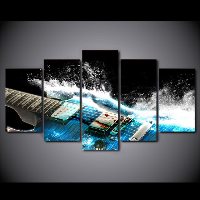 5 Piece Canvas Art Home Decor Posters Prints Blue Guitar Canvas Painting  Wall Pictures For Living