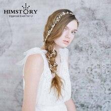 HIMSTORY Handmade Long Vine Beaded Hairbands Girls Bridal Headband Wedding Hair Accessories Crystal Pearl Women Headwear