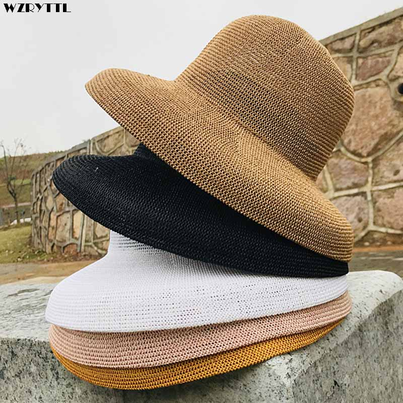 2019 New Women Sun Hats Wide Brim Summer Straw Hats White Black Fashion Floppy Beach Hat Cap Cloche Style Kentucky Derby Hats