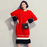 Winter Women Korean Sweet Contrast Color Red Black Ruffles Splicing Knitted Dresses Flare Sleeve Patchwork Female