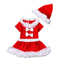 Merry Christmas Festival Baby Girl Clothes Set Beautiful Bowknot Lace Trimmed Dress + Hat Infant Xmas Outfits NY13TZ