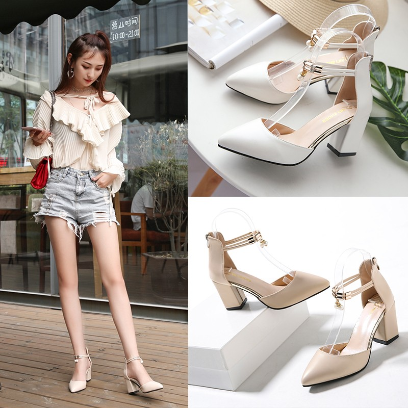 2019 New Ladies High Heels Summer Fashion Sexy Pointed Leather Shoes Wedding Party High Heels Ladies Sandals Zapatos Mujer A9