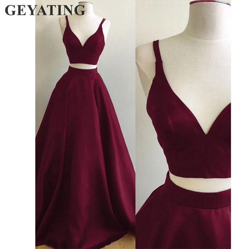 Simple Wine Red Long Two Pieces Prom Dress Crop Top Satin Skirt Burgundy Formal Evening Dresses To Party Vestido Longo De Festa Платье