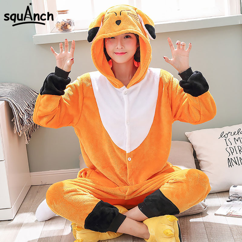 Fox Onesie Animal Kugurumi Flannel Adult Women Girl Orange Cute Pajama Winter Overall Holiday Party Jumpsuit Cartoon Sleep Wear