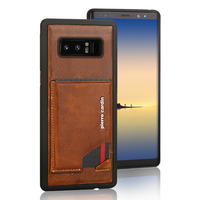 For Samsung Galaxy Note 8 Phone Case Pierre Cardin Genuine Leather Case Slim Card Holder Stand Flip Leather Sofe Back Cover Case