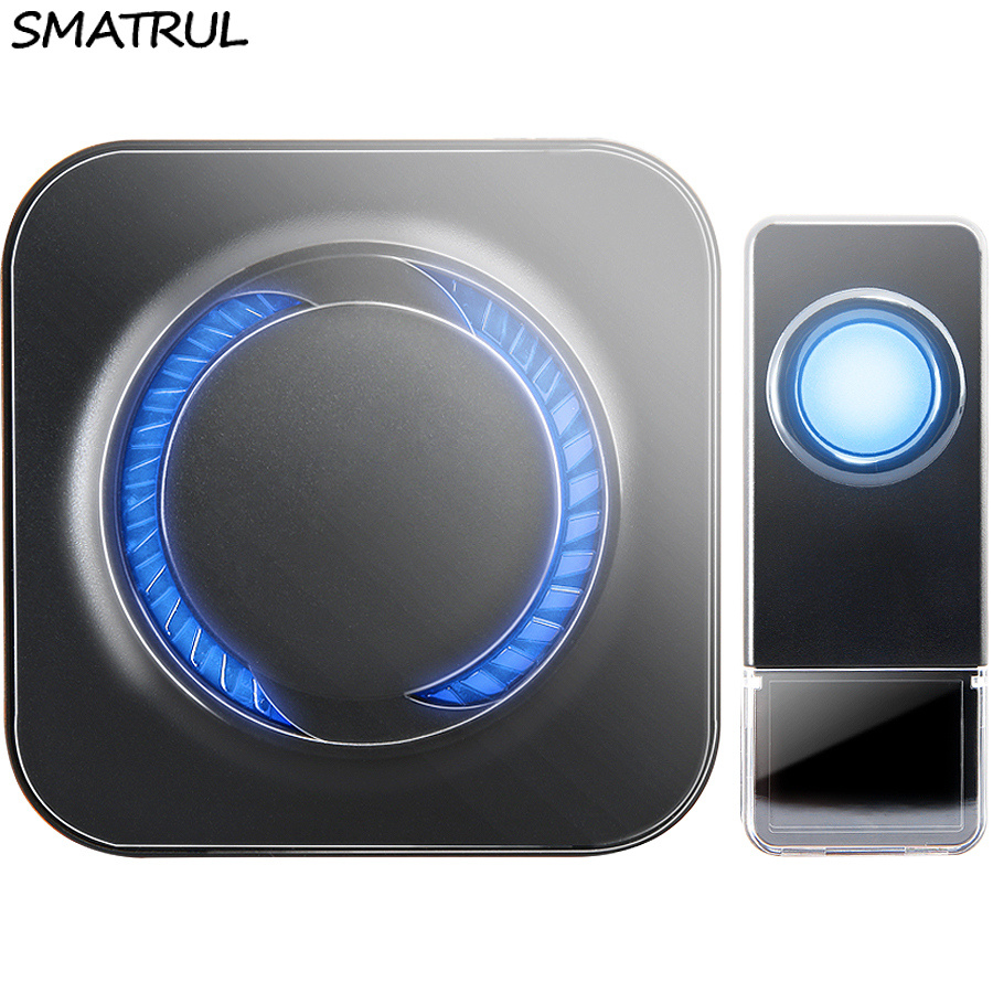 цена SMATRUL Waterproof Wireless Doorbell EU Plug 300M long range home Door Bell ring call 1 transmitter 1 receiver LED light Old man