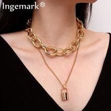 Ожерелье цепочка в стиле панк с подвеской замком для влюбленных