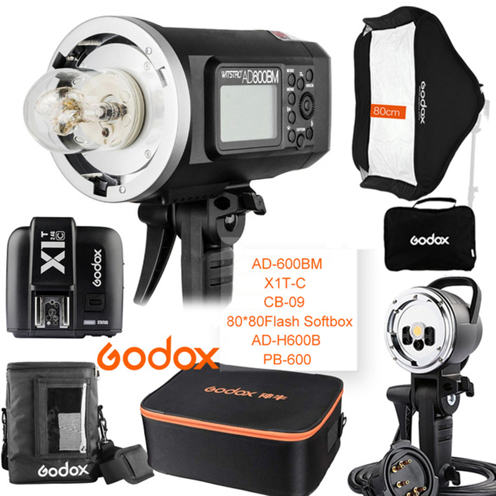 Godox AD600BM 600W HSS 1/8000 2.4G Wireless Outdoor flash+X1T-C+PB-600+CB-09+AD-H600B+80*80 Softbox Kit for Canon artway pb 8000