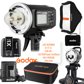Godox AD600BM 600W HSS 1/8000 2.4G Wireless Outdoor flash+X1T-C+PB-600+CB-09+AD-H600B+80*80 Softbox Kit for Canon