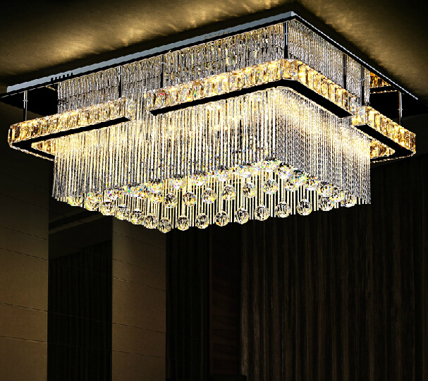 new item rectangular LED crysal chandelier ceiling mounted crystal ...