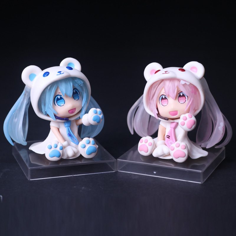 Anime Vocaloid Hatsune Miku Sakura Bear Ver PVC Action Figure Collectible Model Doll Kids Toys 10CM HMAF015 2Colors new arrival 1pcs 18cm pvc japanese anime figure hatsune miku budokan ver action figure collectible model toys brinquedos