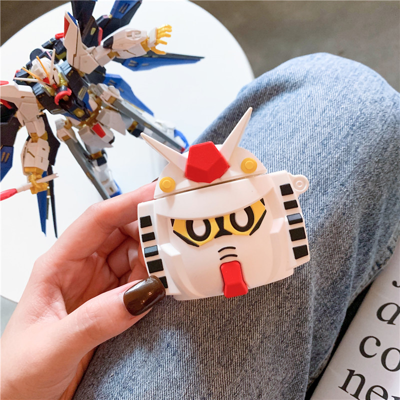 Image 2 - 3D Cute Cartoon GUNDAM Mobile Suit Headphone Cases For Apple Bluetooth Headset Airpods 1 2 Silicone Protective Sleeve Skin Cover-in Earphone Accessories from Consumer Electronics
