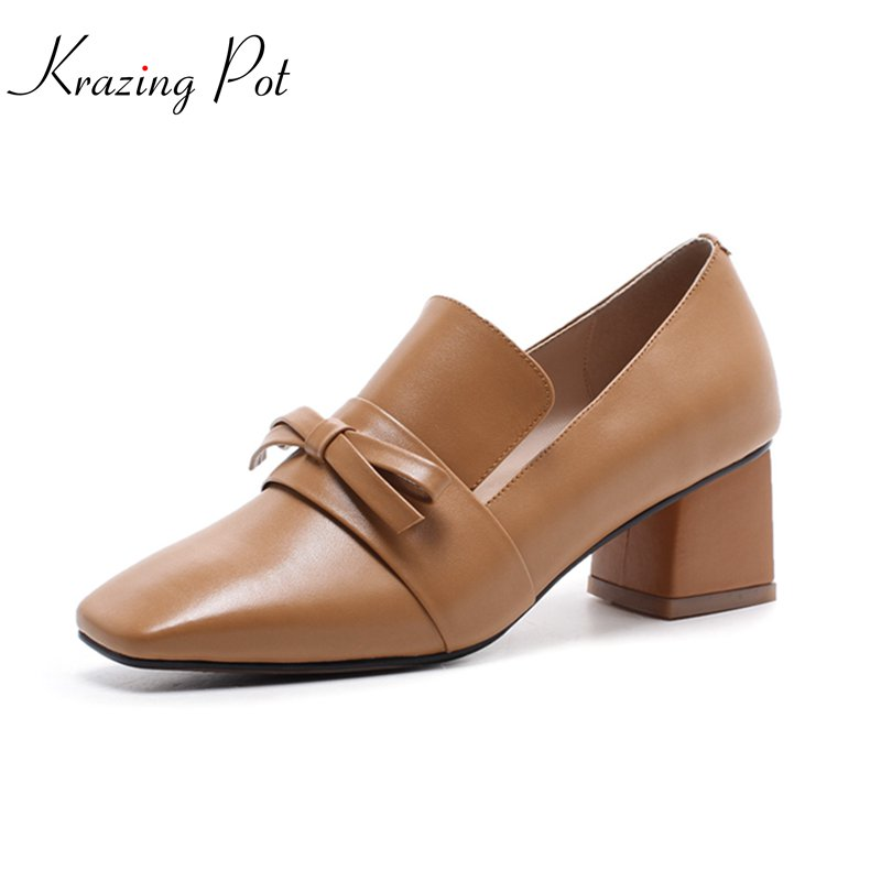 Krazing pot 2018 genuine leather fashion brand shoes square toe med heels women pumps european and American style handmade L22 krazing pot shoes women rivets fashion genuine leather square toe lazy style med thick heels slip on hollow pumps lady shoes l50