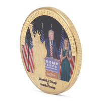 US 45th President Statue Of Liberty Gold Plated Commemorative Coins Collection