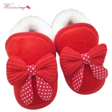 New Cotton Winter Warm Baby Shoes Soft Bottom Non-slip Bow T