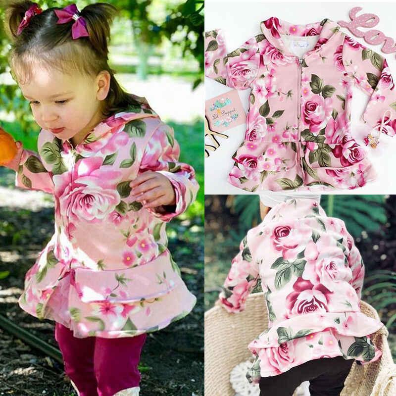 סתיו חורף יילוד פעוט תינוק ילדים בנות ארוך שרוול פרח רוכסן מעיל תינוק ילדי תינוקות בגד חם להאריך ימים יותר