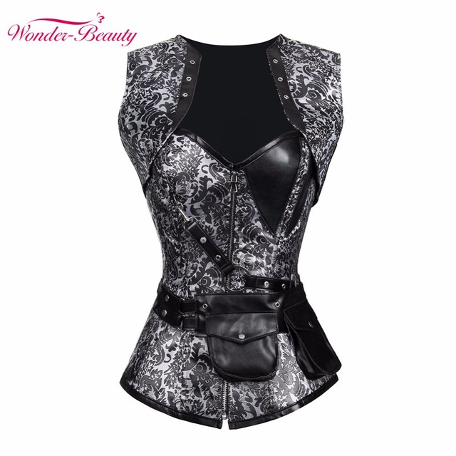 Wonder-Beauty S-2XL Sexy Lace up Boned Overbust Corset Gothic Bustier Top Waist Cincher Outfit Summer Party Dress Body Shaper-F