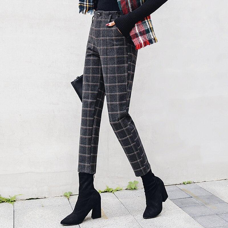 S-3XL Plus Size Women Pants Autumn Winter Vintage Elegant Plaid Office Ladies Casual Loose Harem Pants Ankle Length Trousers 1