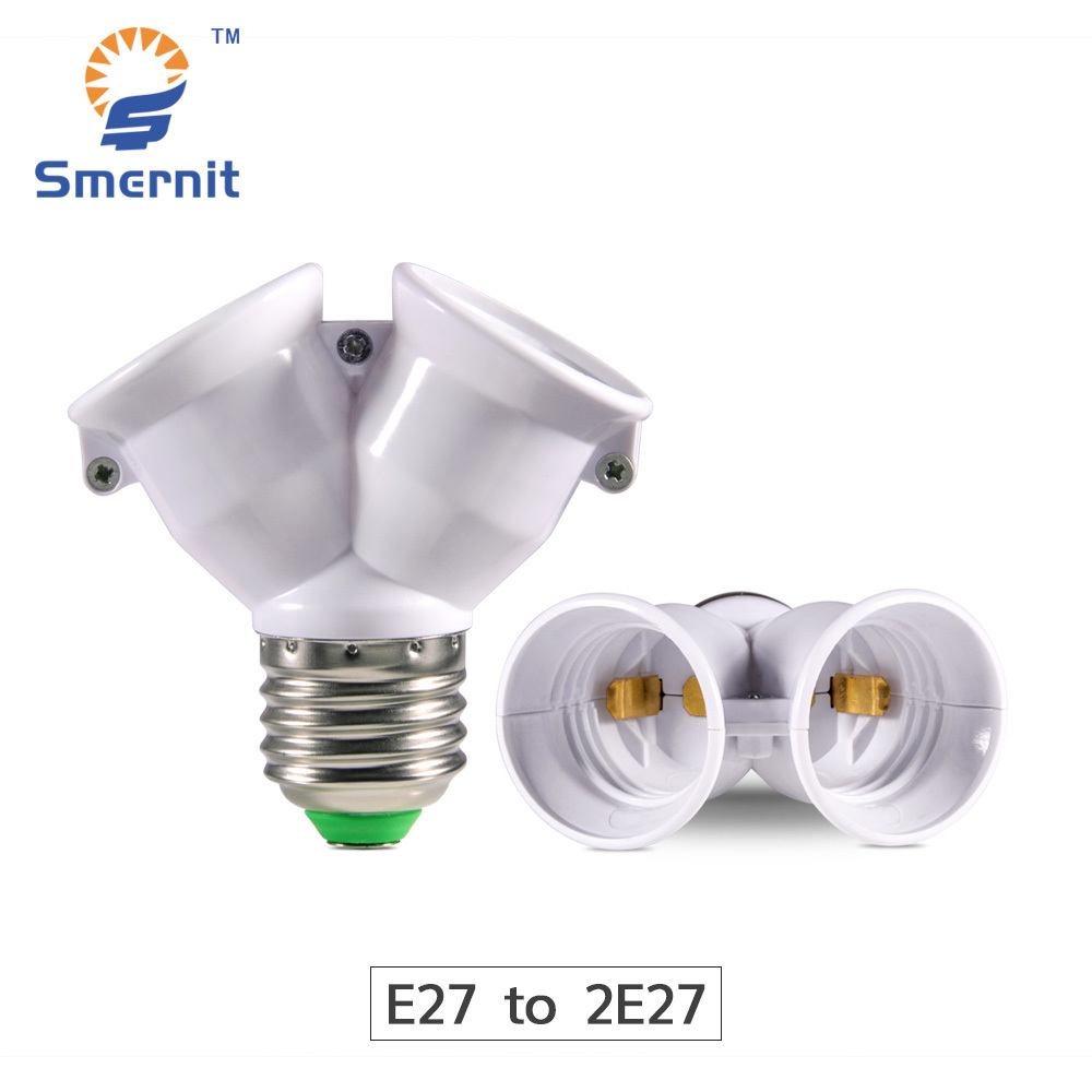 E27 to 2 E27 LED Bulb Adaptor Lamp Holder Converter LED Light Socket Conversion Light Bulb Base Screw 2E27 Y Splitter Adapter