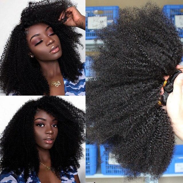 Монгольские афро кудрявые пряди волос 100% человеческие волосы пряди с закрытием 4B 4C наращивание ткать девственные волосы 2 или 3