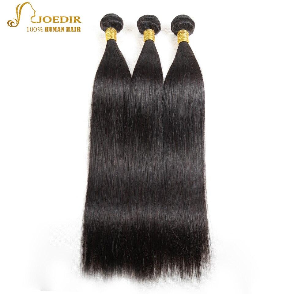 Joedir Straight Hair Bundles Med Stängning I 3/4 Bundlar Non Remy - Skönhet och hälsa - Foto 3