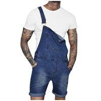 denim Men's Overall Casual Jumpsuit Jeans Wash Pocket Suspender Pants shorts 2019 summer d90604