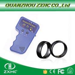 Novo handheld 125 khz em4100 rfid copiadora escritor duplicador programador leitor + id125khz rfid preto cerâmica inteligente dedo anel wear
