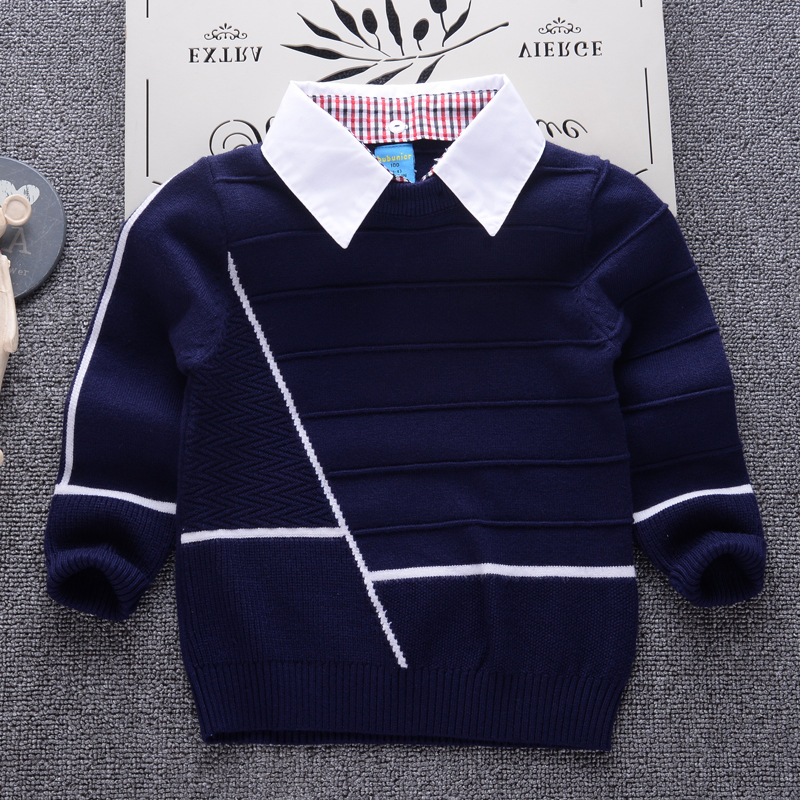 Children Sweater 2018 New Casual Knitting Pullover for Boys Shirt collar Sweaters Kids Clothes Winter School Toddler Girls Top цены онлайн