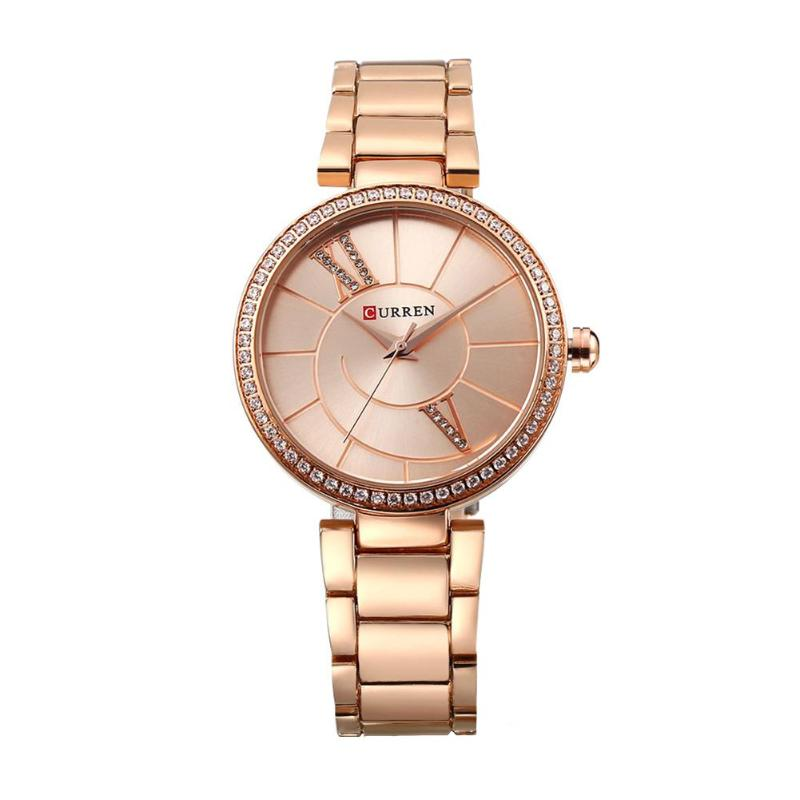 CURREN Luxury Women's Casual watches waterproof watch women Analog Alloy fashion Dress Rhinestone Waterproof Quartz Watch 2017 luxury brand time story women s necklace quartz analog rhinestone anti clockwise watches women waterproof watch