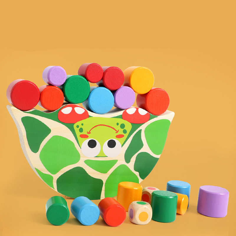 Baby Toys Educational Turtle Balancing Blocks Wooden Toys Beech Wood Balance Game Montessori Blocks Gift For Child