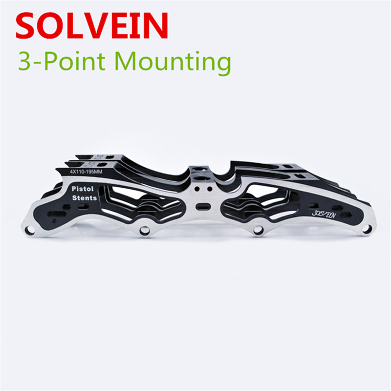 [3 Point Mounting] SOLVEIN Pistol Stents Inline Speed Skate Frame, 4X100 4X110mm, 195mm Boot Distance, For PowerSlide STS [7000 aluminium alloy] original vortex inline speed skate frame base for 4x110mm 4x100mm 4x90mm skating shoe bcnt sts cityrun