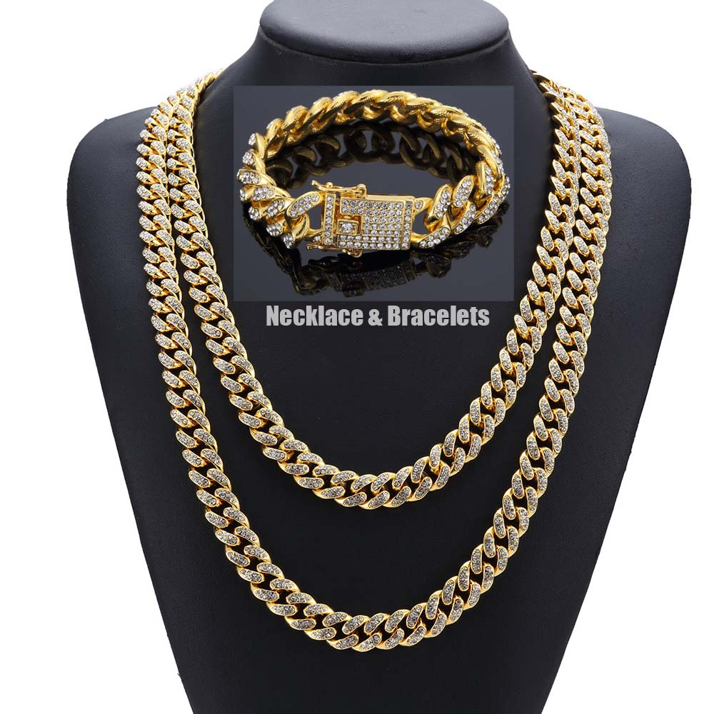 HipHop Bling Bling Full Cubic Zirconia Men Women Jewelry Sets MIAMI CUBAN LINK CHAIN Iced Out Punk Chains Necklace Bracelets