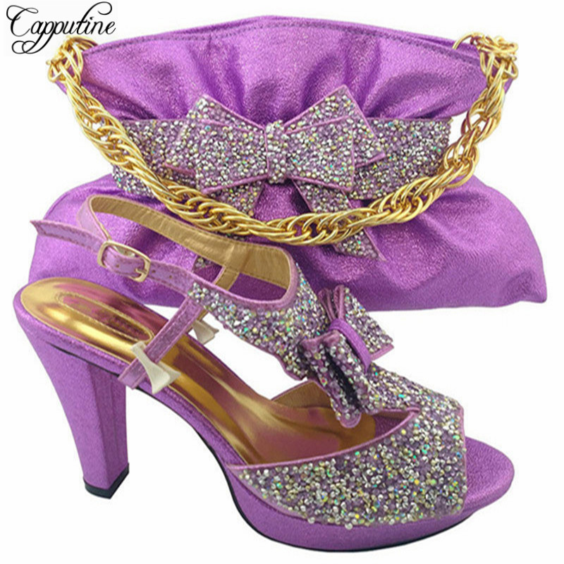 Capputine Italian Style Shoes And Bag For Parties Dress African Rhinestone High Heels Shoe And Bag Set For Wedding MM1042 capputine high quality crystal super high heels shoes and bag set italian style woman shoes and bag set for wedding party g33