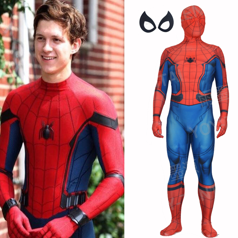 YOY-ZENTAI High Quality Custom Made 2017 Spider-Man Costume Tom Spiderman Spandex Suit Newest 2017 Homecoming Spiderman Suit