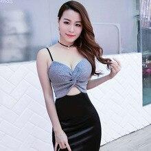 dac4a20335242 Gece kulübü kadın Giyim Avrupa ve Amerika moda Seksi Koşum elbise Düşük  kesim Derin V göğüs Dikkatli Sızıntı makinesi gecelik