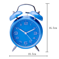 Color Blue 4 Twin Bell Alarm Clock With Stereoscopic Dial Backlight Battery Operated Loud Alarm Clock