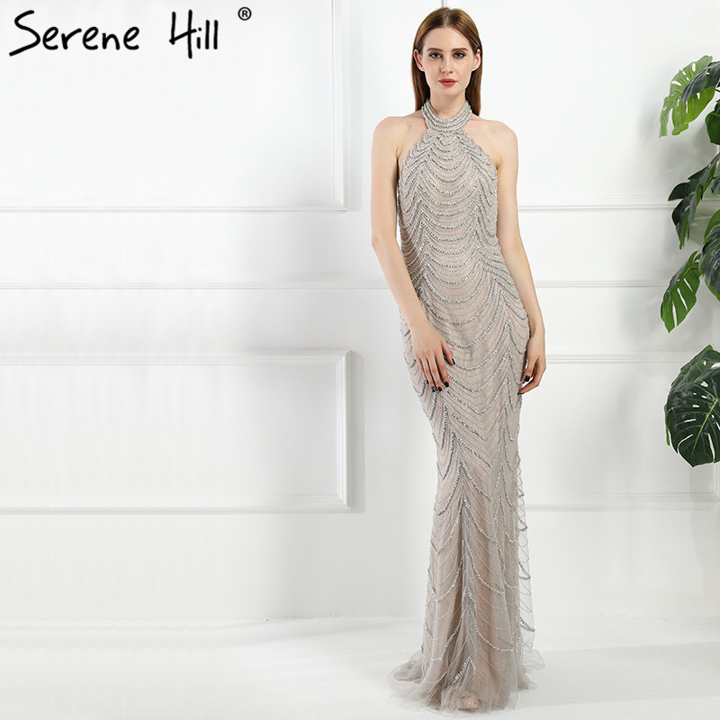 Sexy Backless Halter Gray Mermaid Long Evening Dresses 2018 Real Picture Luxury Crystal Beaded Lace Dubai Robe De Soiree BLA6101