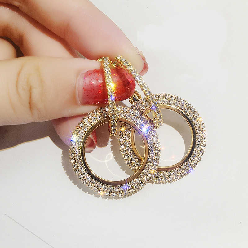 New Fashion Pop Earrings Personality Joker Show Thin Circle Full Of Crystal Earrings Sold Jewelry Wholesale