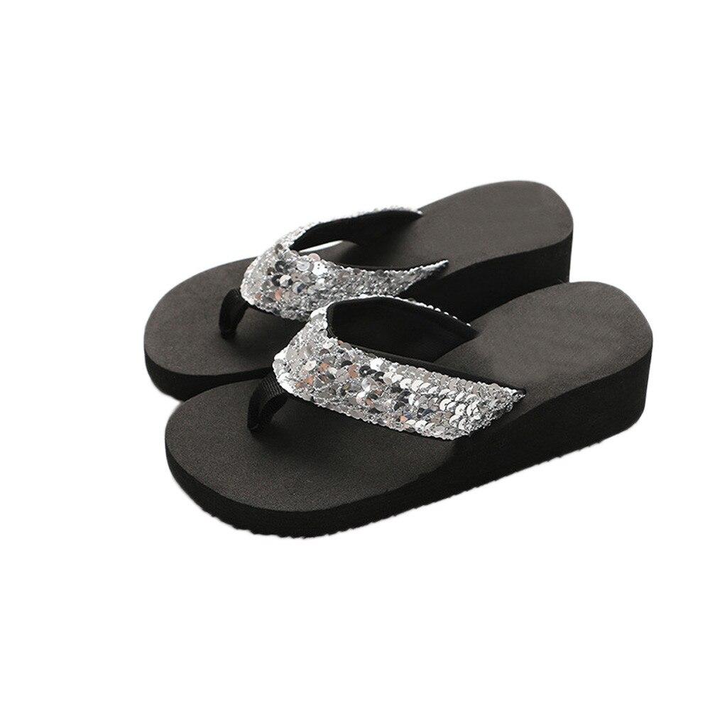 HTB1v3a2cL1H3KVjSZFHq6zKppXaN Summer Women Flip Flops Casual Sequins Anti-Slip slippers Beach Flip Flat Sandals Beach Open Toe Shoes For Ladies Shoes #L5