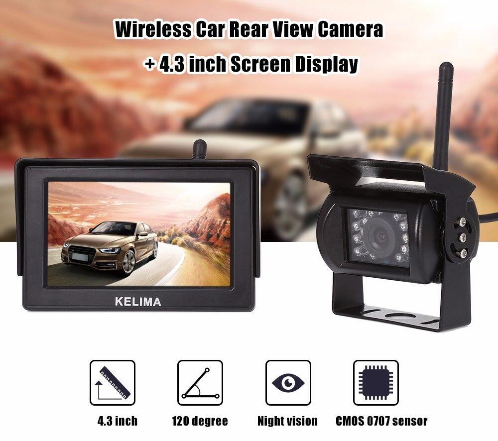ФОТО KELIMA 088 Car Wireless HD Rearview Camera Waterproof Backup Reverse Monitor Auto 18 IR LEDs Camera + 4.3 inch Screen Display