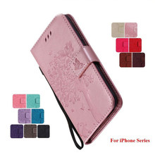 Luxe Flip PU Leather Cases Mooie Boom Kat Patroon Voor iPhone X 8 7 6S Plus 4 4S 5C 5S SE Touch 5 6 Card Slot Phone Bags Funda(China)