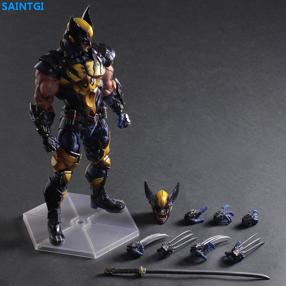 SAINTGI Marvel X-Men Wolverine LOGEN Super Heroes PVC 28CM Animated Action Figure Collection Model Toys Dolls Free Shipping marvel platinum the definitive wolverine reloaded