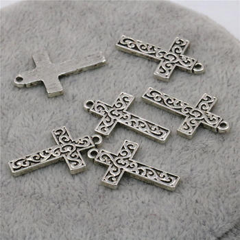 10PCS Accessories Copper Metal Lucky Cross Kaddish DIY Loose Finding Pendant Necklace Jewelry Making Design 14x22mm image