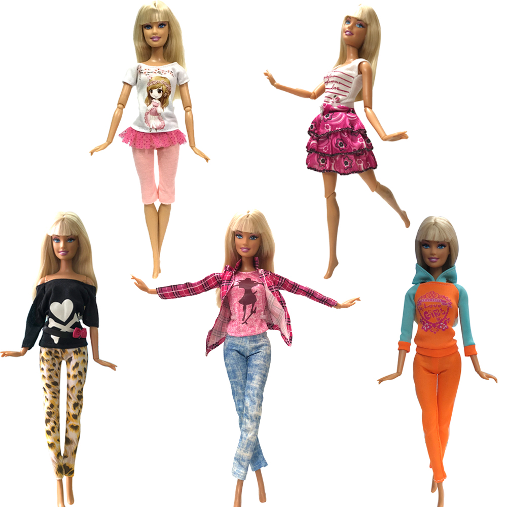 NK 5 Pcs/Set  Doll Dress Fashion Outfit  Handmade Casual Style Clothes Trousers For Barbie Doll Accessories Girls Gift Kids Toys