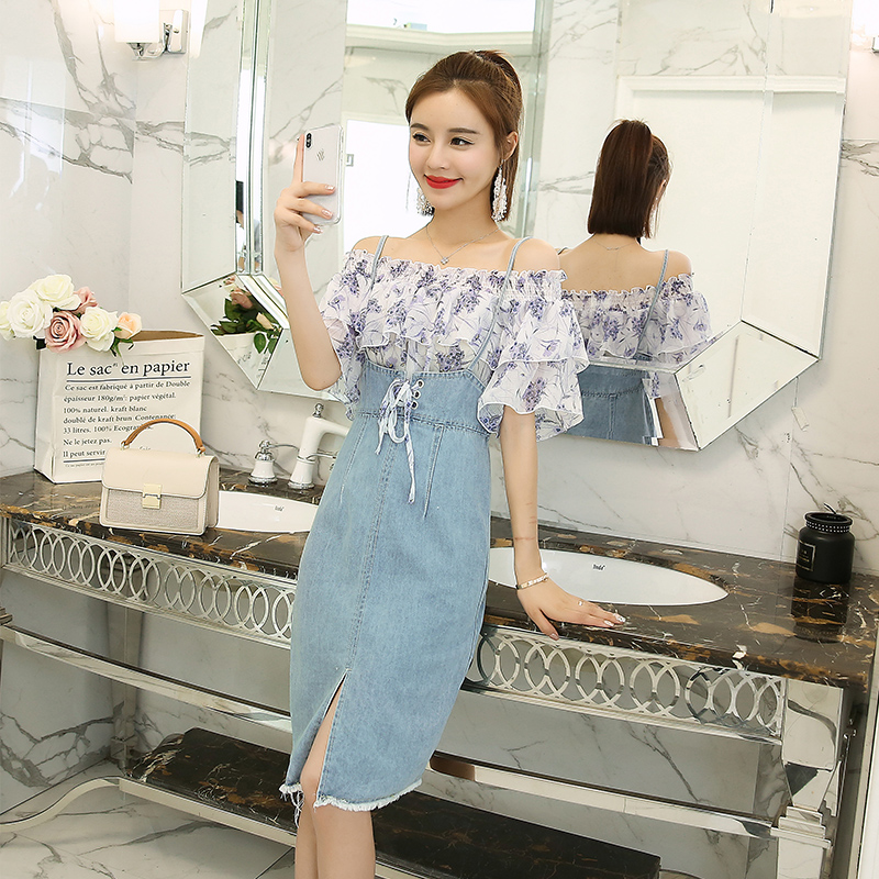 0506bb63db Small refreshing suit female 2018 summer new fashion leaked shoulder  chiffon sweater cowboy sling skirt two piece dress-in Dresses from Women s  Clothing on ...