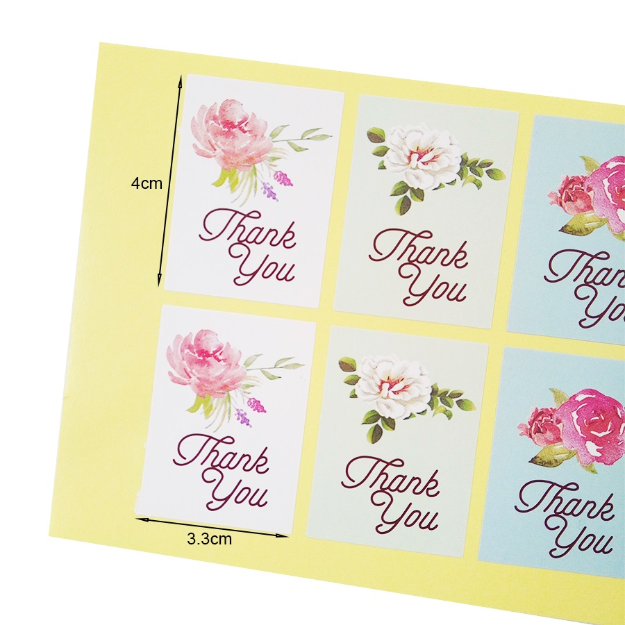 Купить с кэшбэком 80pcs/lot Kawaii Stickers Flower Design Thank You Seal Sticker For Gifts 4 Color Gift Package Decaration Stickers Scrapbooking