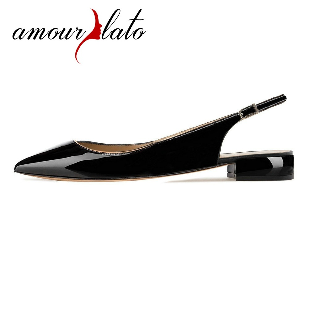 Amourplato Women's Pointed Toe Slip On Pumps Low Heel Autumn Mule Closed Toe Shoes 2CM Slingback Wide Ladies Shoes Size US5-13 pu closed toe color block slingback shoes