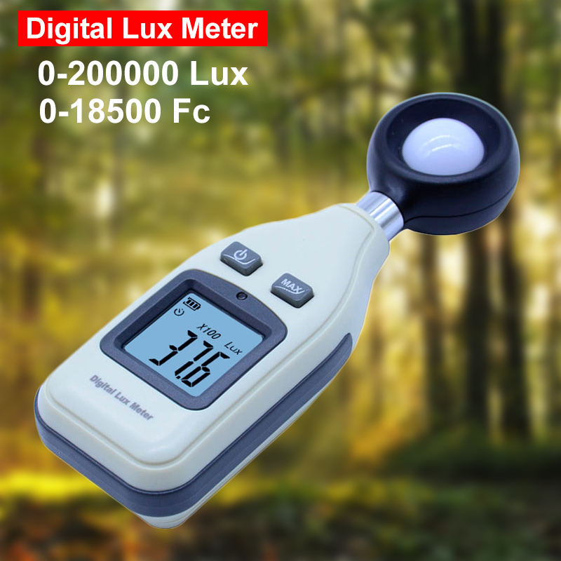 LCD Digital Lux Meter Professional Illuminance Illuminometer Light Meter Photometer 200000 lux For Stage Lighting Greenhouse bside elm02 professional digital light meter lux fc light meter