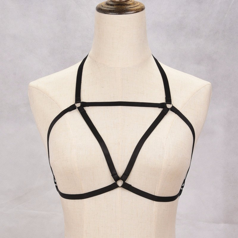 HTB1v3bENVXXXXXBXXXXq6xXFXXXo BDSM Fetish Wear Underbust Black Elastic Bondage Harness Cupless Cage Bra For Women